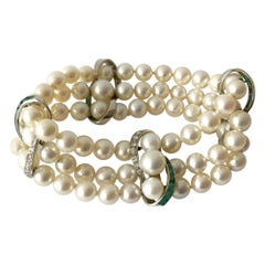 Vintage 14 Karat White Gold 1960s Diamond Emerald Pearl Three-Strand Bracelet