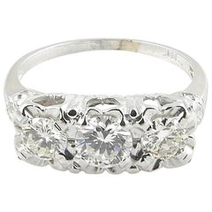 Vintage 14 Karat White Gold 3-Stone Diamond Ring 1.2 Carat