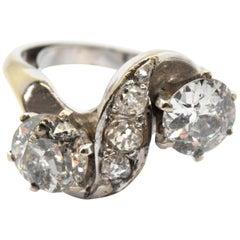 Vintage 14 Karat White Gold and 2.11 Carat Diamond Ring 4.9 Grams