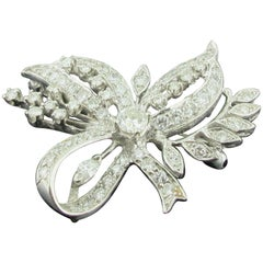 Vintage 14 Karat White Gold and Diamond Brooch