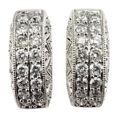 Vintage 14 Karat White Gold and Diamond Hoop Earrings