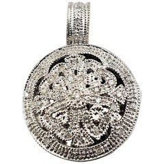 Vintage 14 Karat White Gold and Diamond Locket Pendant