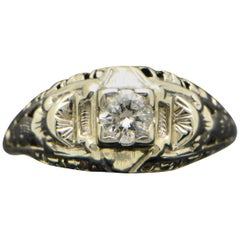 Vintage 14 Karat White Gold Art Deco Diamond Ring