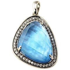 Vintage 14 Karat White Gold Blue Opal and Diamond Pendant