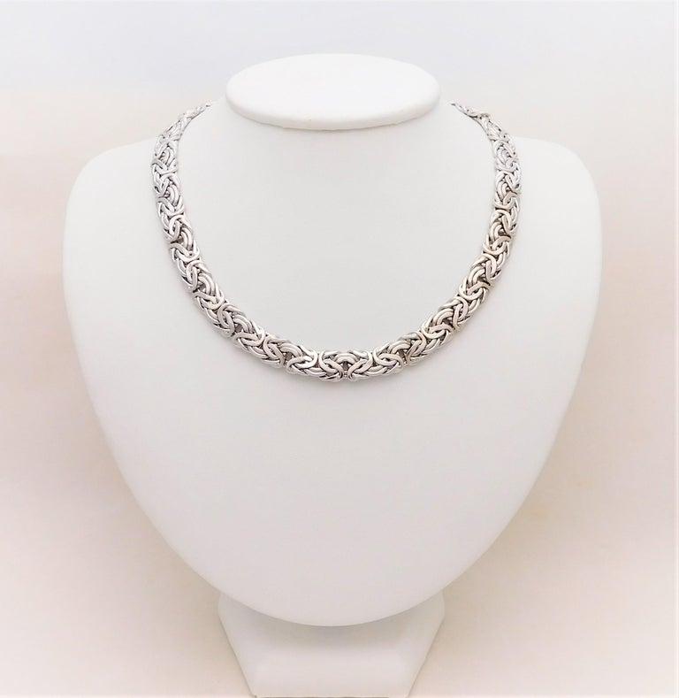 f1889139d8e3c Vintage 14 Karat White Gold Byzantine Necklace