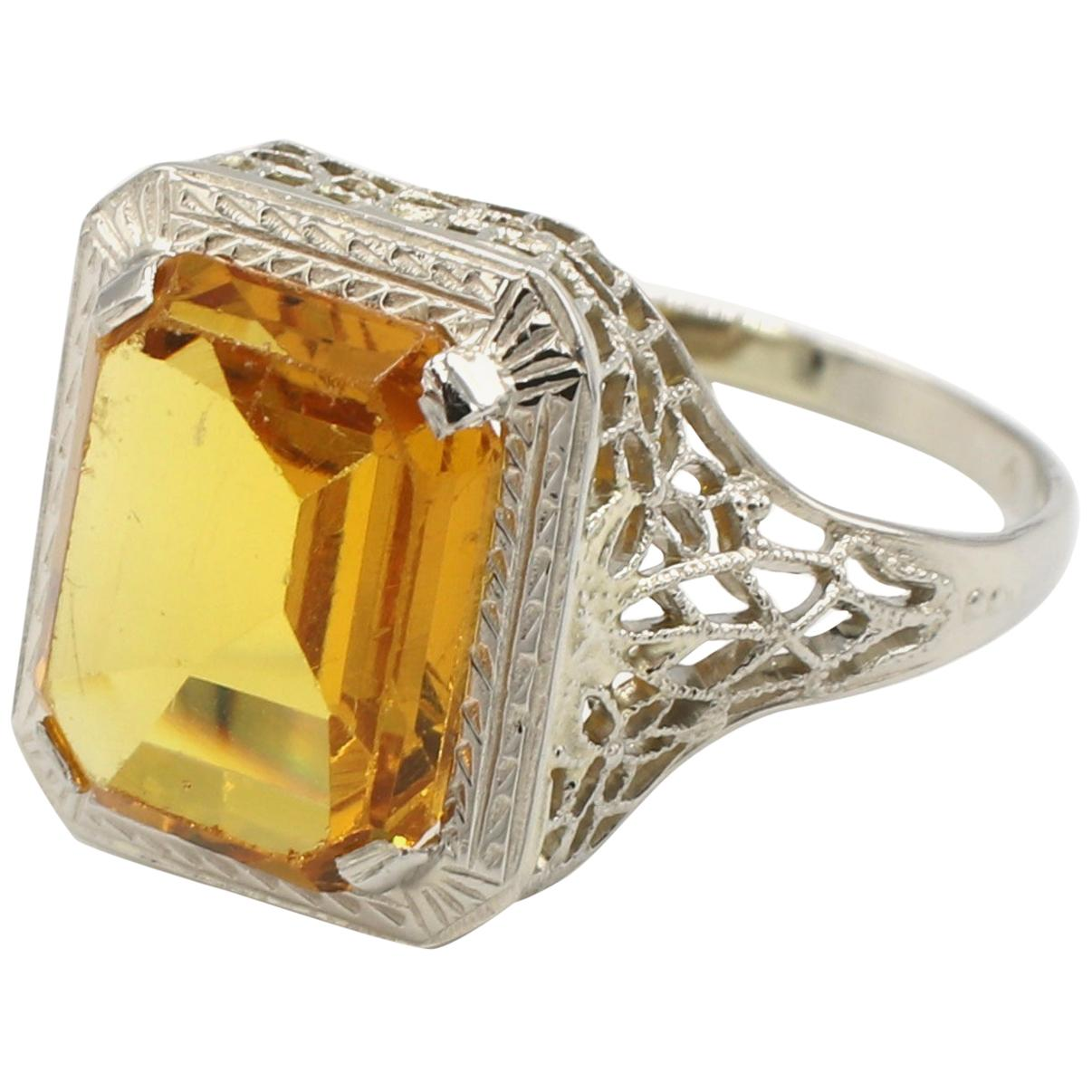 Vintage 14 Karat White Gold Citrine Filigree Design Cocktail Ring