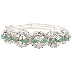 Vintage 14 Karat White Gold Diamond and Round Emerald Cabochon Bangle