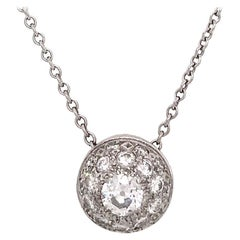 Vintage 14 Karat White Gold Diamond Cluster Pendant Necklace