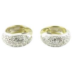 Vintage 14 Karat White Gold Diamond Huggie Earrings #4381
