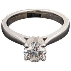 Vintage 14 Karat White Gold Diamond Solitaire Ring