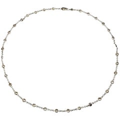 Vintage 14 Karat White Gold Diamonds by the Yard Necklace