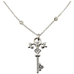 Vintage 14 Karat White Gold Diamonds by Yard Necklace with Diamond Key Pendant