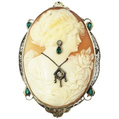 Vintage 14 Karat White Gold, Emerald and Diamond Cameo Brooch/Pendant
