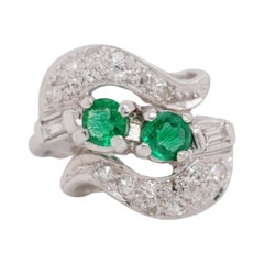 Vintage 14 Karat White Gold Emerald and Diamond Ring