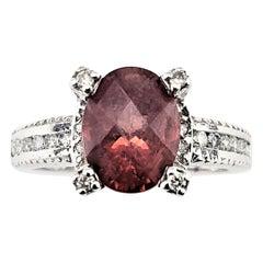 Vintage 14 Karat White Gold Garnet and Diamond Ring