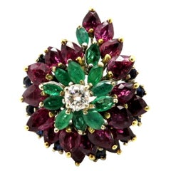 Vintage 14 Karat White Gold Multi Gem Ruby, Sapphire, Emerald and Diamond Ring