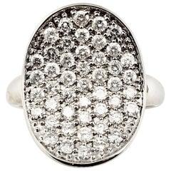 Vintage 14 Karat White Gold Pave Diamond Ring