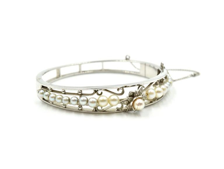 Women's Vintage 14 Karat White Gold Pearl Bangle For Sale