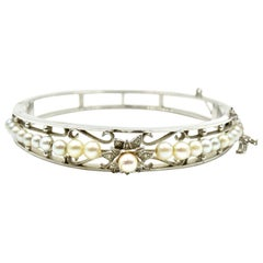Vintage 14 Karat White Gold Pearl Bangle