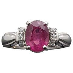 Vintage 14 Karat White Gold Pink Sapphire and Diamonds Ring