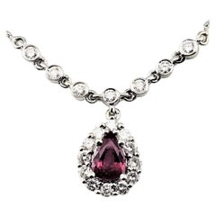 Vintage 14 Karat White Gold Ruby and Diamond Necklace