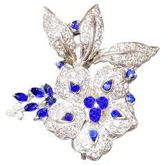 Vintage 14 Karat White Gold, Sapphire and Diamond Floral Brooch