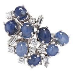 Vintage 14 Karat White Gold Star Sapphire and Diamond Ring