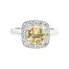 Vintage 14 Karat White Gold Yellow Citrine and Diamond Ring