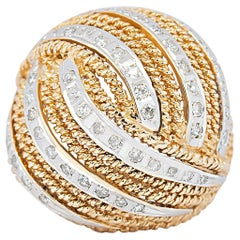 Vintage 14 Karat Yellow and White Gold Diamond Bombé Dome Rope Ring