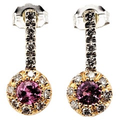 Vintage 14 Karat Yellow and White Gold Pink Sapphire and Diamond Earrings