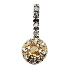 Vintage 14 Karat Yellow and White Gold Yellow Sapphire and Diamond Pendant