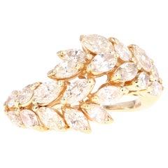 Vintage 14 Karat Yellow Gold 2 Carat Marquise Cut Diamond Ring