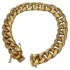 Vintage 14 Karat Yellow Gold 41 Gm Cuban link Bracelet Unisex