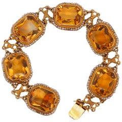 Vintage 14 Karat Yellow Gold 46.62 Carat Citrine Bracelet