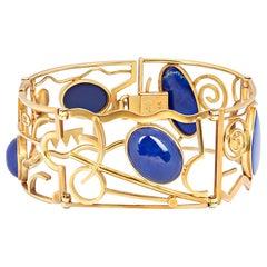 Vintage 14 Karat Yellow Gold Abstract Lapis Lazuli Bracelet by S.A Shaw