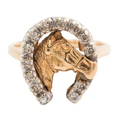Vintage 14 Karat Yellow Gold and 0.15 Carat Diamond Lucky Horse Equestrian Ring