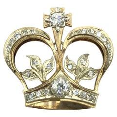 Vintage 14 Karat Yellow Gold and 0.80 Carat Diamond Crown Charm