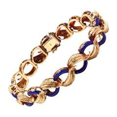 Vintage 14 Karat Yellow Gold and Blue Enamel Leaf Link Bracelet