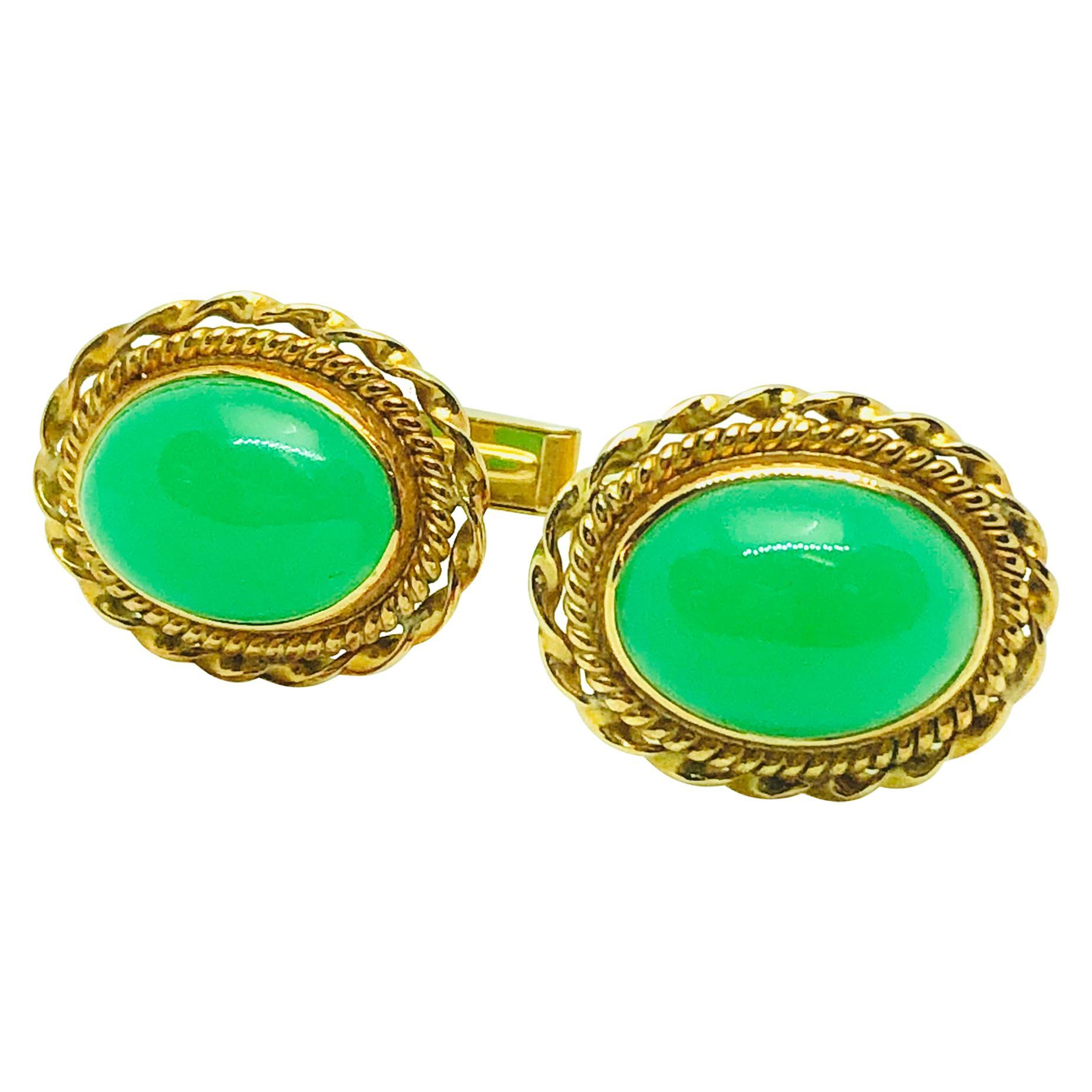 Vintage 14 Karat Yellow Gold and Chalcedony Oval Cufflinks