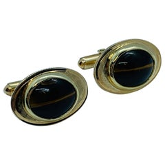 Vintage 14 Karat Yellow Gold and Tiger's Eye Oval Cufflinks