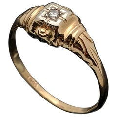 Vintage 14 Karat Yellow Gold Art Deco Diamond Ring