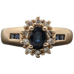 Vintage 14 Karat Yellow Gold Blue Sapphire and Diamond Ring