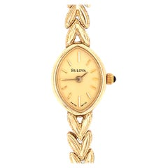Vintage 14 Karat Yellow Gold Bulova Wristwatch Quartz Ronda 4 Jewels