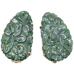 Vintage 14 Karat Yellow Gold Carved Jade Clip-On Earrings