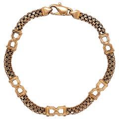 Vintage 14 Karat Yellow Gold Chain Link Bracelet with Black Enamel Italy