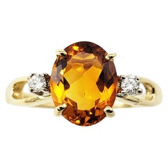 Vintage 14 Karat Yellow Gold Citrine and Diamond Ring