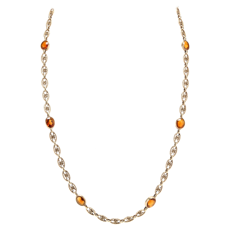 Vintage 14 Karat Yellow Gold Citrine Knot Chain Necklace