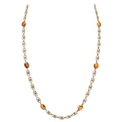 Vintage 14 Karat Yellow Gold Citrine Knot Chain Necklace