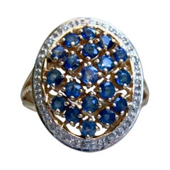 Vintage 14 Karat Yellow Gold Cluster Ring with Diamonds and Sapphires