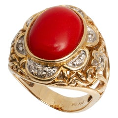 Vintage 14 Karat Yellow Gold Coral and Diamond Ring
